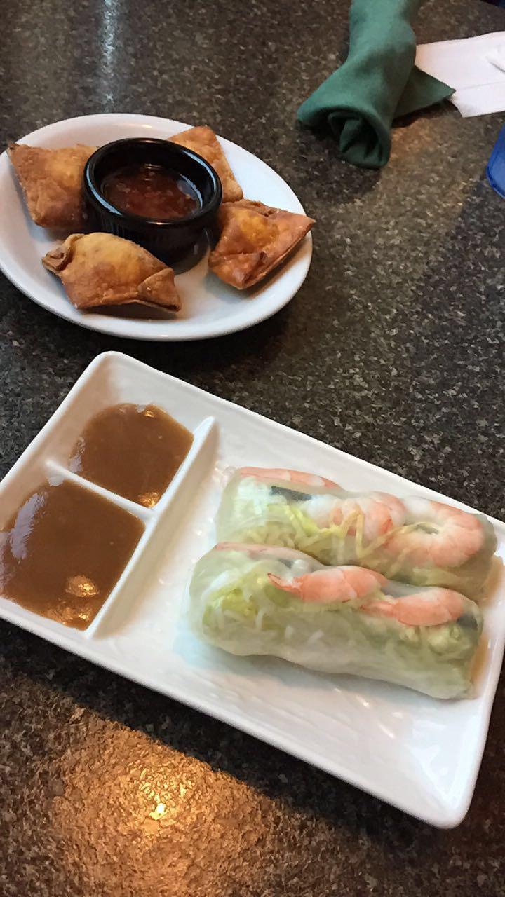 pho bac spring rolls and crab ragoon