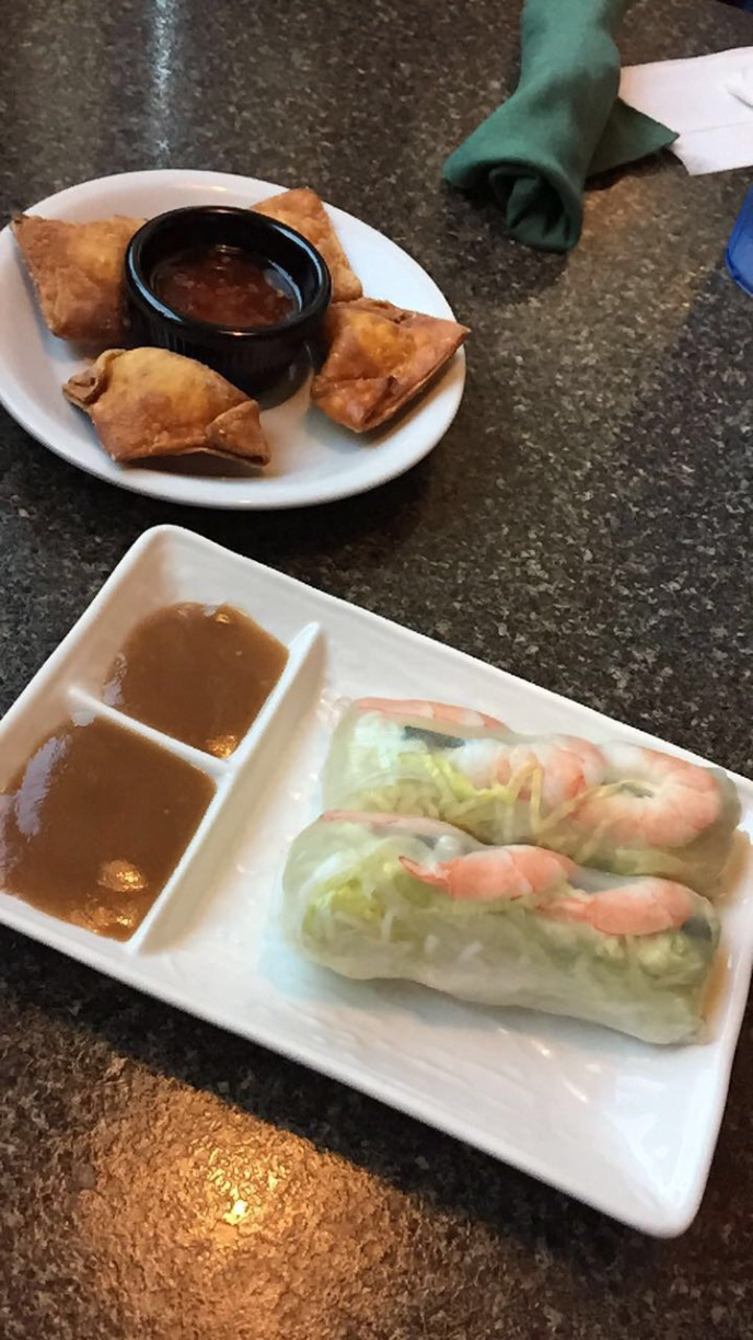 pho bac spring rolls and crab ragoon