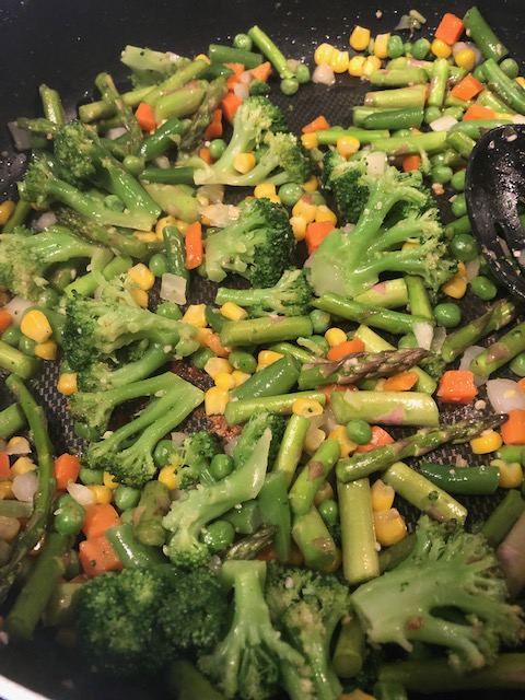 veggies for the veggie shrimp fried rice