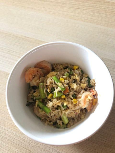 finished veggie shrimp fried rice